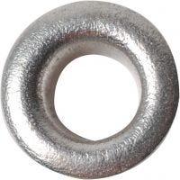 Eyelets, H: 3 mm, d: 8 mm, gatgrootte 4,8 mm, zilver, 50 stuk/ 1 doos