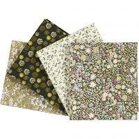 Patchwork stof, afm 45x55 cm, 100 gr, groen, 4 stuk/ 1 doos