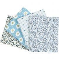 Patchwork stof, afm 45x55 cm, 100 gr, lichtblauw, 4 stuk/ 1 doos