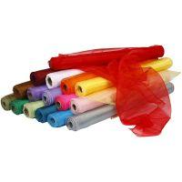 Organza stof, B: 50 cm, diverse kleuren, 16x6 rol/ 1 doos