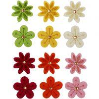 Bloemen van vilt met strassteen, d: 30 mm, 120 stuk/ 1 doos