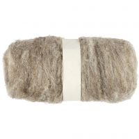 Gekaarde wol, naturel, 100 gr/ 1 bol