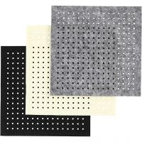 Hobbyvilt met gaten, afm 20x20 cm, dikte 3 mm, zwart, grijs, off-white, 3x4 vel/ 1 doos