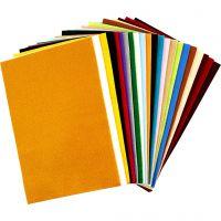 Hobbyvilt, 20x30 cm, dikte 1,5 mm, 180-200 gr, diverse kleuren, 24 div vellen/ 1 doos