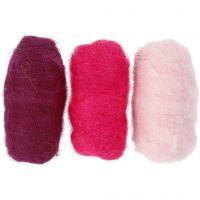 Gekaarde wol, paars/roze harmonie, 3x10 gr/ 1 doos