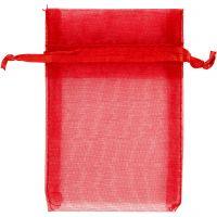 Organza zakjes, afm 7x10 cm, rood, 10 stuk/ 1 doos
