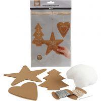 Faux Leather Kerstdecoraties, dikte 0,55 mm, naturel, 1 set