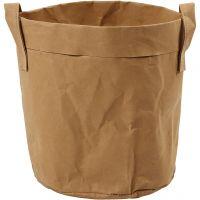 Faux Leather opslagzak, H: 20 cm, d: 19,5 cm, 350 gr, lichtbruin, 1 stuk