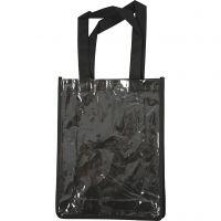 Tas met plastic voorkant, afm 30x23x7 cm, zwart, 1 stuk
