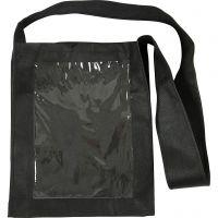 Tas met plastic voorkant, afm 40x34x8 cm, zwart, 1 stuk