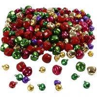Belletjes, d: 10+14 mm, metallic kleuren, 320 div/ 1 doos