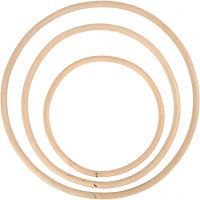 Bamboe ring, d: 15,3+20,3+25,5 cm, 3 stuk/ 1 set
