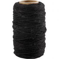 Katoenkoord, dikte 1,1 mm, zwart, 50 m/ 1 rol