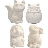 Dierenspaarpot, uil, vos, egel, haas, H: 9-10 cm, wit, 4 stuk/ 1 karton