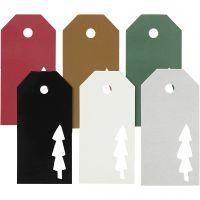 Cadeaulabels, kerstboom, afm 5x10 cm, Inhoud kan variëren , 300 gr, 6x15 stuk/ 1 doos