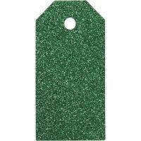 Cadeaulabels, afm 5x10 cm, glitter, 300 gr, groen, 15 stuk/ 1 doos