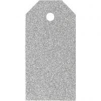 Cadeaulabels, afm 5x10 cm, glitter, 300 gr, zilver, 15 stuk/ 1 doos
