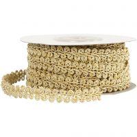 Decoratief gevlochten lint, B: 10 mm, goud, 10 m/ 1 doos