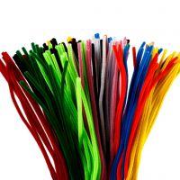 Chenilledraad, L: 45 cm, dikte 6 mm, diverse kleuren, 200 div/ 1 doos