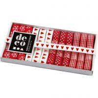 Lint collectie, B: 10 mm, rood/wit harmonie, 12x1 m/ 1 doos
