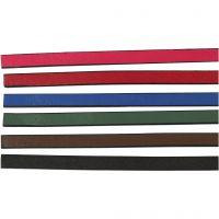 Band van imitatie leer, B: 10 mm, dikte 3 mm, diverse kleuren, 6x1 m/ 1 doos