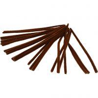 Chenilledraad, L: 30 cm, dikte 9 mm, bruin, 25 stuk/ 1 doos