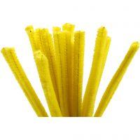 Chenilledraad, L: 30 cm, dikte 9 mm, geel, 25 stuk/ 1 doos