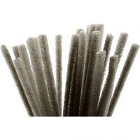 Chenilledraad, L: 30 cm, dikte 9 mm, grijs, 25 stuk/ 1 doos