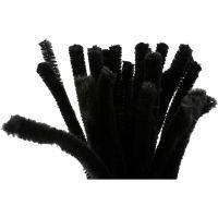 Chenilledraad, L: 30 cm, dikte 9 mm, zwart, 25 stuk/ 1 doos