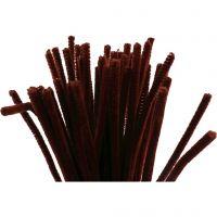 Chenilledraad, L: 30 cm, dikte 6 mm, antiek rood, 50 stuk/ 1 doos