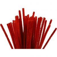 Chenilledraad, L: 30 cm, dikte 6 mm, rood, 50 stuk/ 1 doos