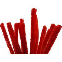 Chenilledraad, L: 30 cm, dikte 15 mm, rood, 15 stuk/ 1 doos
