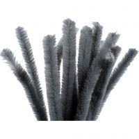 Chenilledraad, L: 30 cm, dikte 15 mm, grijs, 15 stuk/ 1 doos