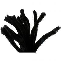 Chenilledraad, L: 30 cm, dikte 15 mm, zwart, 15 stuk/ 1 doos