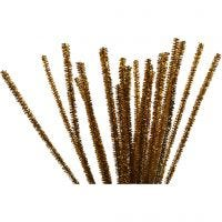 Chenilledraad, L: 30 cm, dikte 6 mm, glitter, goud, 24 stuk/ 1 doos