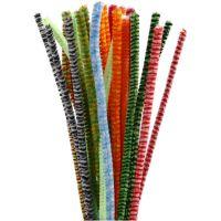 Chenilledraad, gestreept, L: 30 cm, dikte 6 mm, diverse kleuren, 30 div/ 1 doos