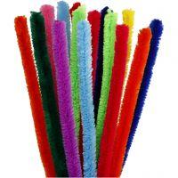 Chenilledraad, L: 30 cm, dikte 15 mm, diverse kleuren, 15 div/ 1 doos