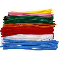 Chenilledraad, L: 30 cm, dikte 9 mm, diverse kleuren, 200 div/ 1 doos
