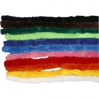 Chenilledraad, L: 30 cm, dikte 15 mm, diverse kleuren, 200 div/ 1 doos