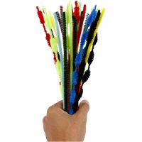 Chenilledraad, L: 30 cm, dikte 5-12 mm, diverse kleuren, 30 stuk/ 1 doos
