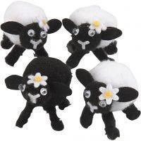 Lammetjes, H: 35 mm, zwart, wit, 4 stuk/ 1 doos