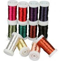 Zacht sieradendraad, dikte 0,5 mm, diverse kleuren, 12x50 m/ 1 doos