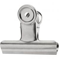 Metalen klem, B: 7,5 cm, zilver, 6 stuk/ 1 doos