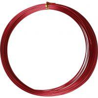 Alu draad, rond, dikte 1 mm, rood, 16 m/ 1 rol