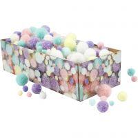 Pom-poms, d: 15-40 mm, glitter, pastelkleuren, 400 gr/ 1 doos