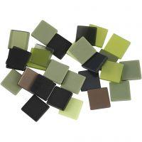 Mini mozaiek, afm 10x10 mm, groen glitter, 25 gr/ 1 doos