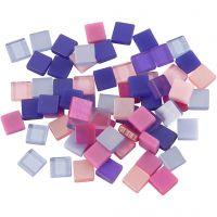 Mini mozaiek, afm 5x5 mm, paars/donkerpaars, 25 gr/ 1 doos