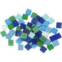 Mini mozaiek, afm 5x5 mm, blauw/groen harmonie, 25 gr/ 1 doos