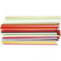 Constructie rietjes, L: 12,5 cm, d: 3 mm, diverse kleuren, 3200 stuk/ 1 doos
