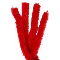 Chenilledraad, L: 40 cm, dikte 30 mm, rood, 4 stuk/ 1 doos